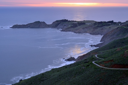 Setting Sun... Bonita Cove and Pt. Bonita Lighthouse - Marin Headlands