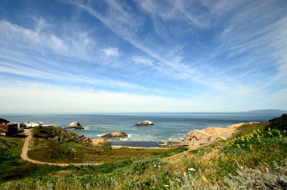 Clouds streaming over Lands End, San Francisco