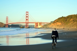 What were the odds that a bicyclist would pass you on the beach?