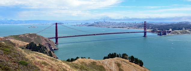 5 shot panorama from Hawk Hill in the Marin Headlands.